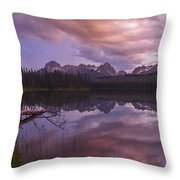 Little Redfish Lake Sunset Stanley Idaho Throw Pillow