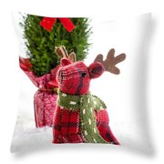 Little Reindeer Christmas Card Throw Pillow
