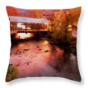 Little River Bridge At Sunset Gatlinburg Throw Pillow