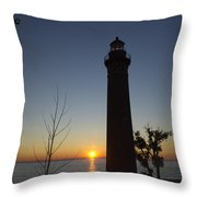 Little Sable Lighthouse At Sunset Throw Pillow