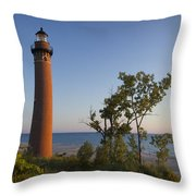 Little Sable Lighthouse By The Shore Throw Pillow
