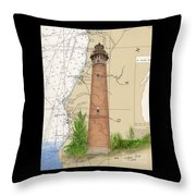 Little Sable Lighthouse Lake Mi Nautical Chart Map Art Cathy Peek Throw Pillow