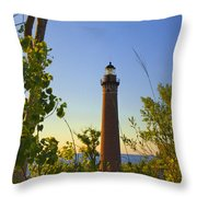 Little Sable Lighthouse Seen Through The Trees Throw Pillow