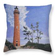 Little Sable Point Lighthouse Throw Pillow