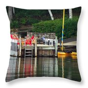 Little Sister Dock Reflection Throw Pillow