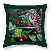 Little Sparrow In The Holly Throw Pillow