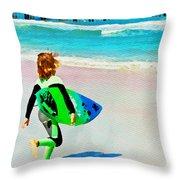 Little Surfer Dude Throw Pillow