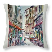 Little Trip At Exotic Streets In Istanbul Throw Pillow
