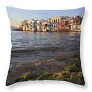 Little Venice At Sunset Mykonos Town Cyclades Greece  Throw Pillow