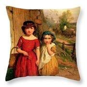 Little Villagers Throw Pillow