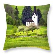 Little White German Church Throw Pillow