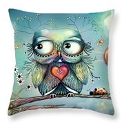 Little Wood Owl Throw Pillow by Karin Taylor