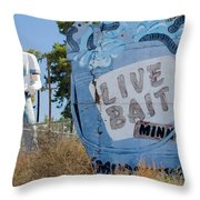 Live Bait Sign And Muffler Man Statue Throw Pillow