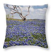 Live Bluebonnets And Dead Tree Throw Pillow