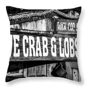 Live Crab And Lobster Sign On Dory Fish Market Throw Pillow