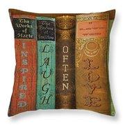 Live-laugh-love-books Throw Pillow