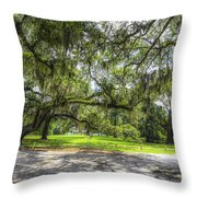 Live Oaks Dripping With Spanish Moss Throw Pillow