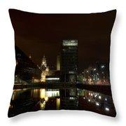Liverpool Docks At Night Throw Pillow