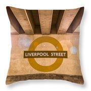 Liverpool Street Underground Throw Pillow