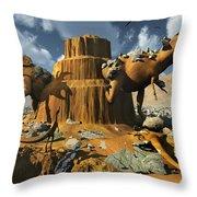 Living Fossils In A Desert Landscape Throw Pillow