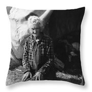 Living In A Camp Throw Pillow