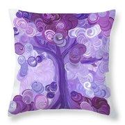 Liz Dixon's Tree Purple Throw Pillow