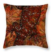 Lizard In Red Nature - Elena Yakubovich Throw Pillow by Elena Yakubovich