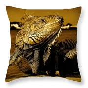 Lizard Sunbathing In Miami II Throw Pillow