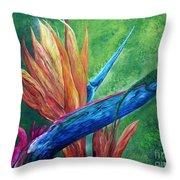 Lizard On Bird Of Paradise Throw Pillow