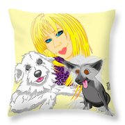 Lizzie And Dimey And Pinny Throw Pillow