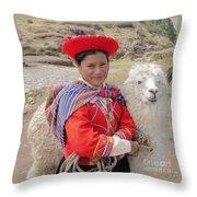 Llama Lady Throw Pillow
