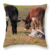 Lmao  Mules And Zebra - Featured In Wildlife Group Throw Pillow