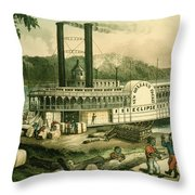 Loading Cotton On The Mississippi, 1870 Colour Litho Throw Pillow