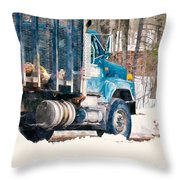 Loading Of Logs  Throw Pillow