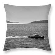 Lobster Boat And Islands Off Acadia National Park In Maine Throw Pillow