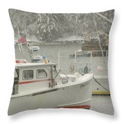 Snowy Lobster Boats Throw Pillow