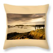 Lobster Boats Cape Porpoise Maine Throw Pillow