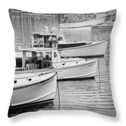 Lobster Boats In Bass Harbor And Bernard Maine  Throw Pillow