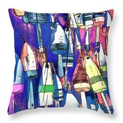 Lobster Buoy Colors Throw Pillow
