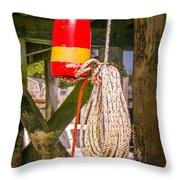 Lobster Buoy Under Pier Throw Pillow
