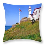 Lobster Cove Lighthouse With Blue Sky In Gros Morne Np-nl Throw Pillow