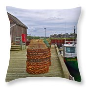 Lobster Fishing Baskets And Boats By A Dock In Forillon Np-qc Throw Pillow