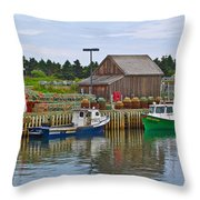Lobster Fishing Baskets And Boats In Forillon Np-qc Throw Pillow