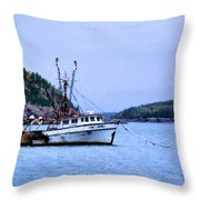 Trawling In Bar Harbor Throw Pillow