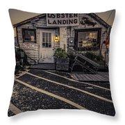 Lobster Landing Shack Restaurant At Sunset Throw Pillow