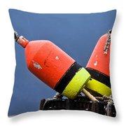 Lobster Pot Buoys Throw Pillow