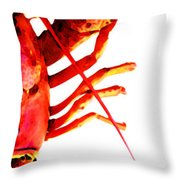 Lobster - The Right Side Throw Pillow by Sharon Cummings