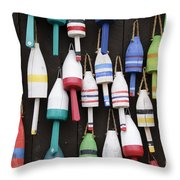 Lobster Trap Marker Bouys Throw Pillow