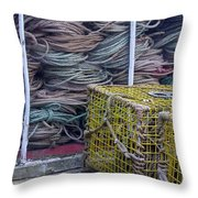 Lobster Traps And Ropes Throw Pillow by Stuart Litoff