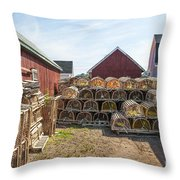 Lobster Traps In North Rustico Throw Pillow